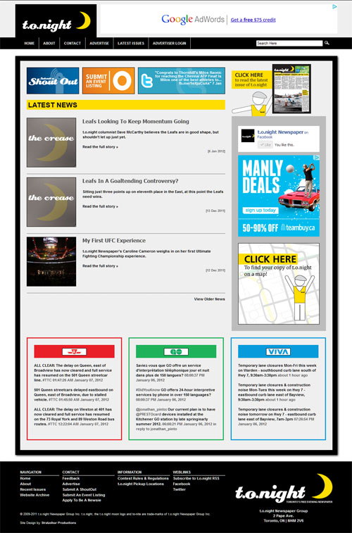 1b4502fe300 Stratasfear Productions » Archive » Web Design  t.o.night Newspaper ...