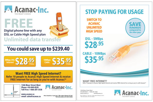 Digital Design: Acanac Inc. Print Advertisement (in t.o.night Newspaper)